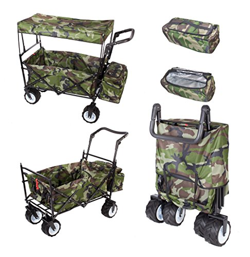 CAMOUFLAGE FREE ICE COOLER PUSH HANDLE FOLDING STROLLER WAGON OUTDOOR SPORT COLLAPSIBLE BABY TROLLEY W/ CANOPY GARDEN UTILITY SHOPPING TRAVEL BEACH CART - EASY SETUP NO TOOL NECESSARY