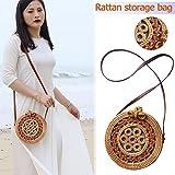 Small Beach Bag Bohemian Rattan Round Crossbody Bag Retro Woven Straw Braided Shoulder Bag