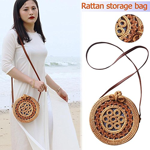 Small Beach Bag Bohemian Rattan Round Crossbody Bag Retro Woven Straw Braided Shoulder Bag by iBaste_S