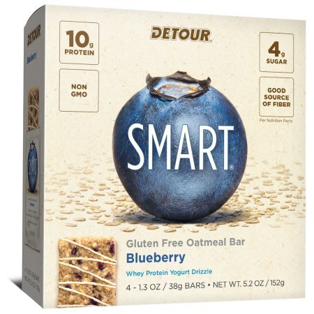 Detour SMART Blueberry Whole Grain Oatmeal Protein Nutrition Snack Bar Multi-Pack, 1.3 oz, 4 count