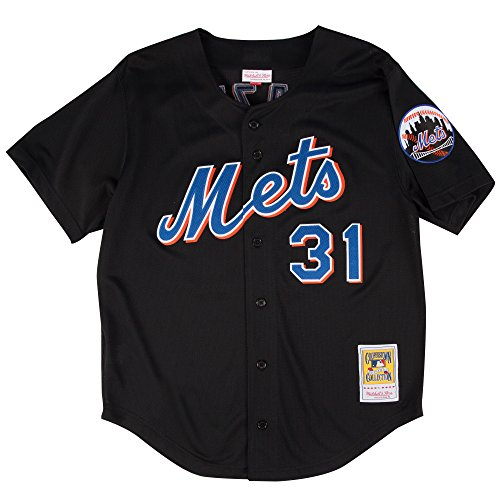 Mike Piazza Black New York Mets Authentic Throwback Mitchell & Ness Jersey 4XL (60) ()