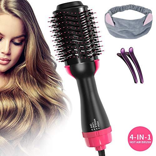 Stylish Brush - One Step Hair Dryer & Volumizer, 4-IN-1 Hot Air Brush Salon Negative lon Styling Hair Dryer Brush, Electric Blow Dryer, Curler, Straightener, Styler Brush with 2Pcs Hair Clips and 1 Hair Band (Rose)