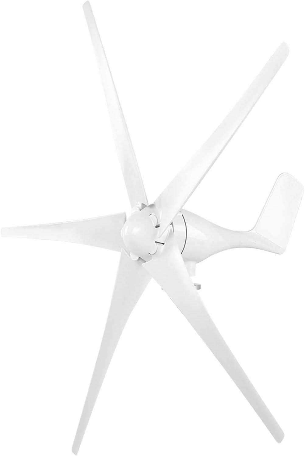 Generador de turbina eólica, generador de molino de viento 1600W Empresas de turbina eólica 5 palas Controlador de viento Kit de generador de turbina para barcos, terrazas, cabañas(White 24V)
