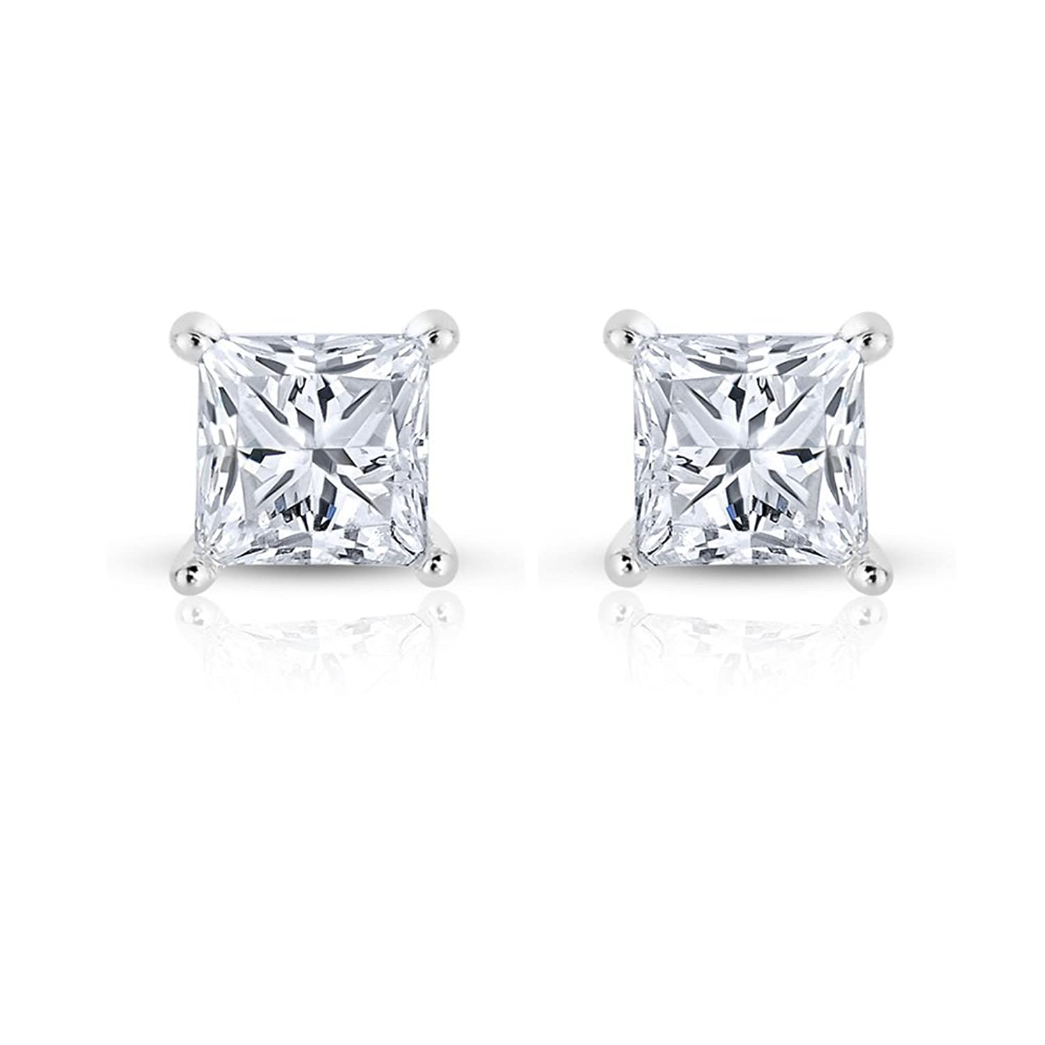 Amazon 14k White Gold Princess cut Solitaire Diamond Stud