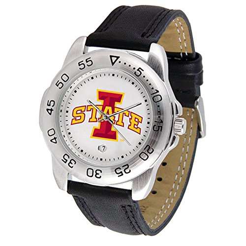 Iowa State Cyclones Suntime Mens Sports Watch w/ Leather Band - NCAA College Athletics