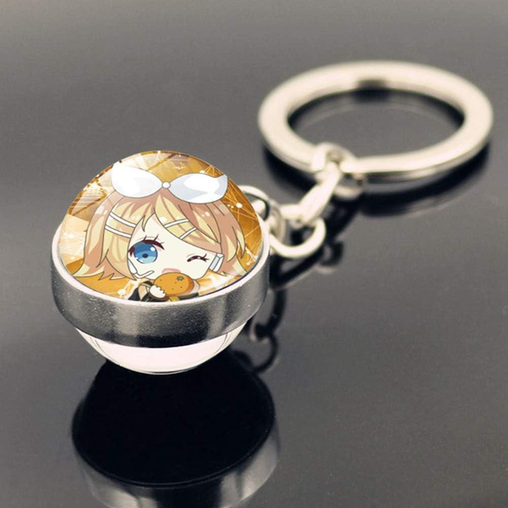 Style 05 temps pierres pr/écieuses double face boule de verre pendentif porte-cl/és bijoux cadeau pour les fans dAnime cluis Hatsune Miku Porte-cl/és
