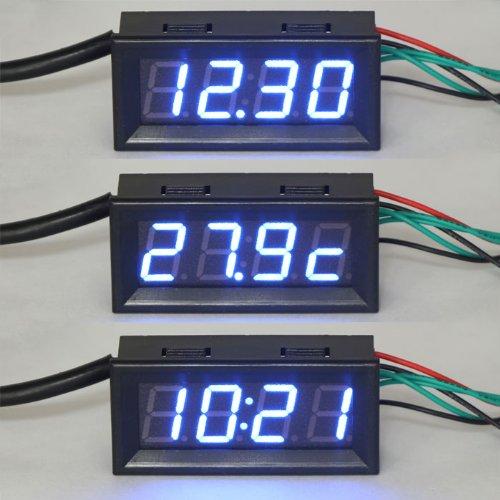 """DEOK 0,56"""" DC 12V MCU Horloge Numérique Voitures Température de Moniteur de Tension Bleu Affichage LED Multimètre"""