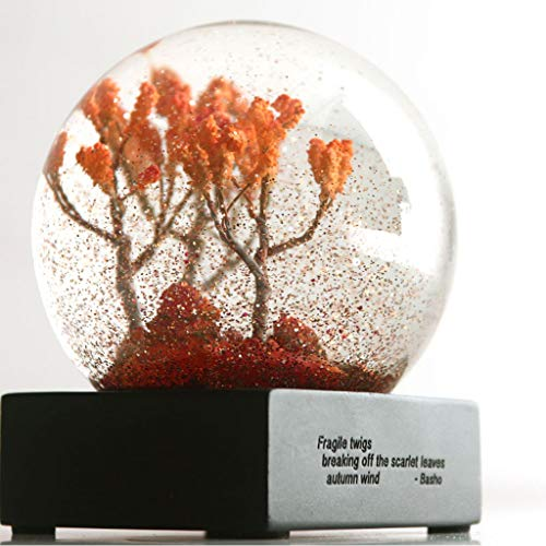 - Flurries  3 inch (80mm) Autumn Season Crystal Ball with Resin Stand, Clear Glass Art Water Snow Globe for Home Decoration Gift, Scarlet Leaves Maple Tree Haiku Inscribed (Shipped from USA) (Clear)