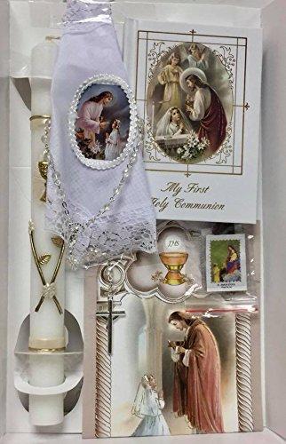 First Holy Communion Girls Gift Set - Handkerchief Prayer Book Keepsake