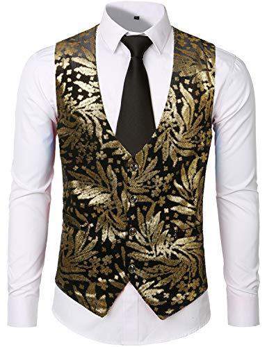 - ZEROYAA Mens Hipster Vintage Metallic Leaves Printed Suit Vest Waistcoat ZLSV05 Gold Medium