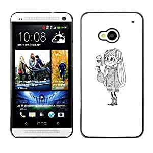 Planetar® ( Cute Girl Bird White Kids Drawing Pencil ) HTC One M7 Fundas Cover Cubre Hard Case Cover