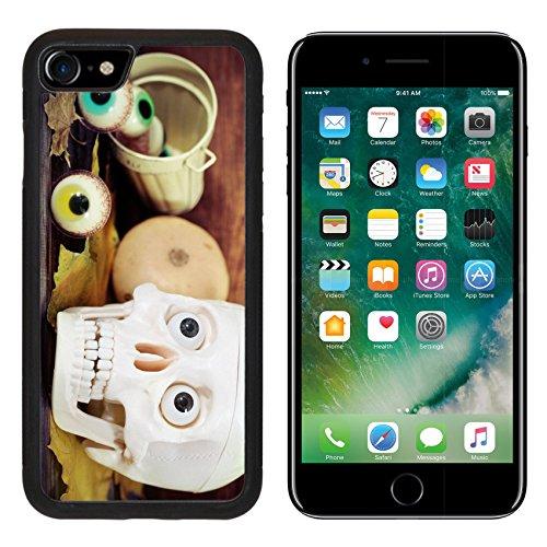 Luxlady Premium Apple iPhone 7 Aluminum Backplate Bumper Snap Case iPhone7 IMAGE ID: 21992311 Creepy skull halloween sweets and pumpkins for Halloween (Creepy Halloween Dessert Ideas)