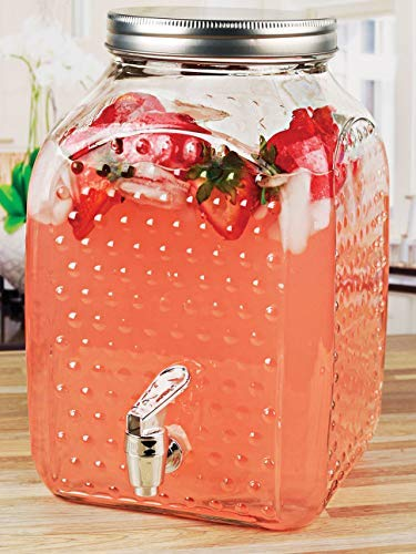 (Circleware 69151 Hobnail Elegant Sun Tea Mason Jar Glass Beverage Dispenser, Fun Party Entertainment Home Kitchen Glassware Water Pitcher for Juice, Beer & Iced Punch Drinks, 1.6 Gallon, Square)