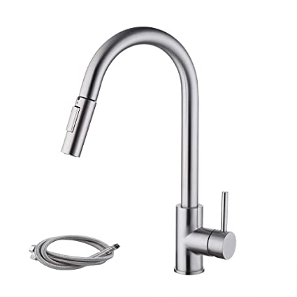 Kes Pull Down Kitchen Faucet Stainless Steel Modern Single Large Tall Commercial Pullout Bar Sink Faucet With Swivel High Arc Gooseneck Pulldown