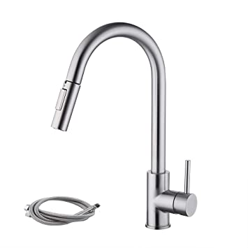 Kes Stainless Steel Pull Down Kitchen Faucet Modern Single Large