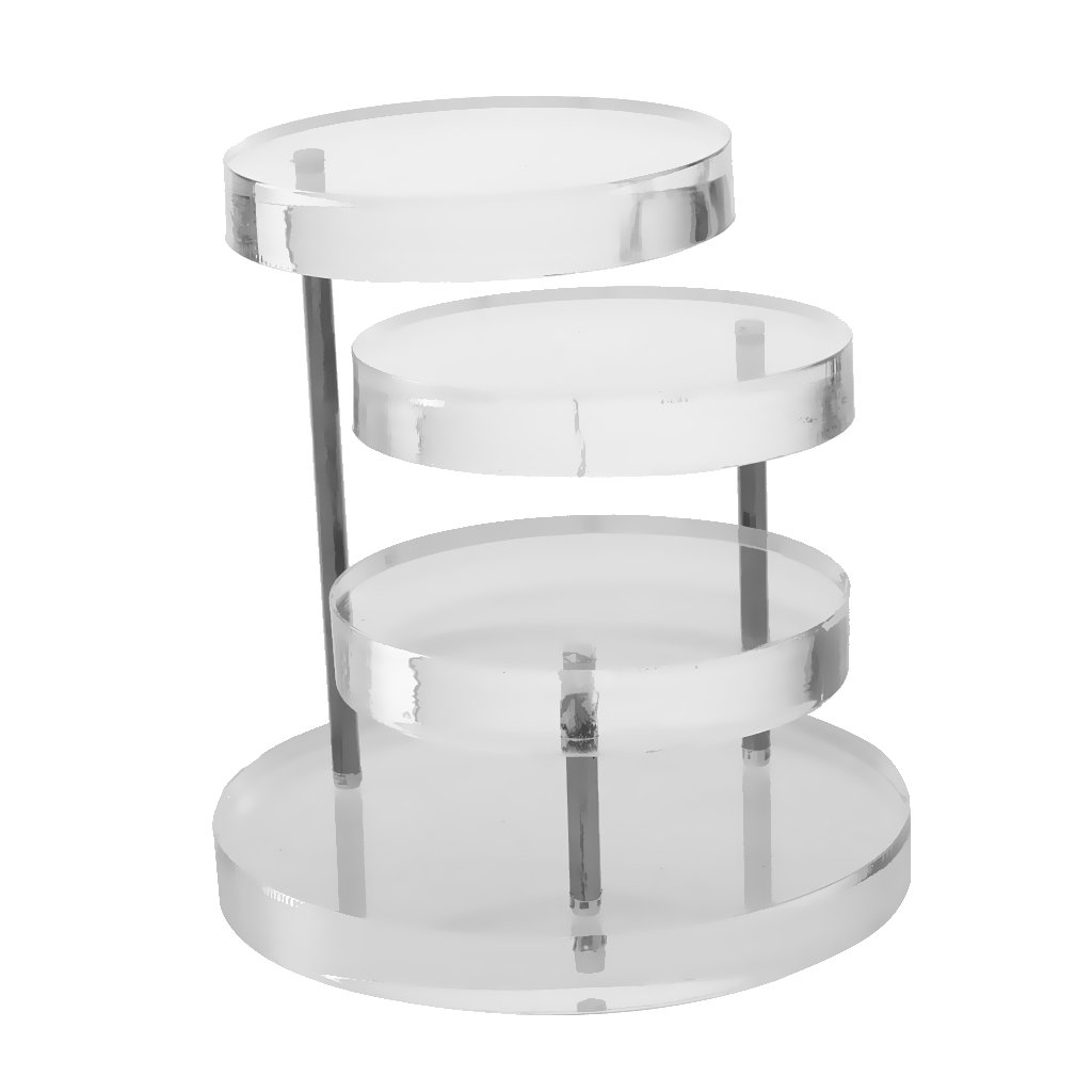 Dovewill 3-Tier Acrylic Jewelry Display Earrings Rings Round Table Holder Stand Rack