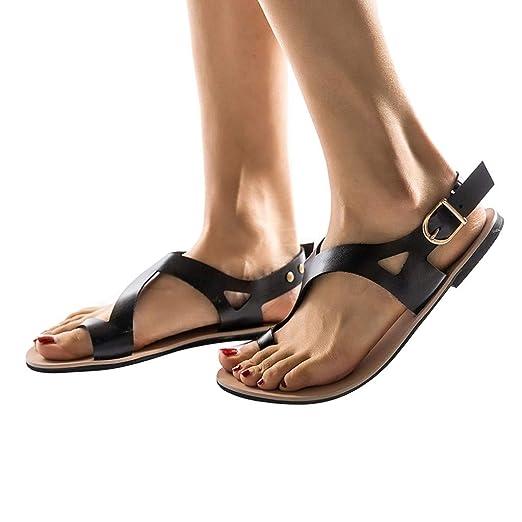 a7442c042fba Behkiuoda Women Plus Size Flat Sandals Summer Beach Shoes Thick Heel  Slip-On Open Toe