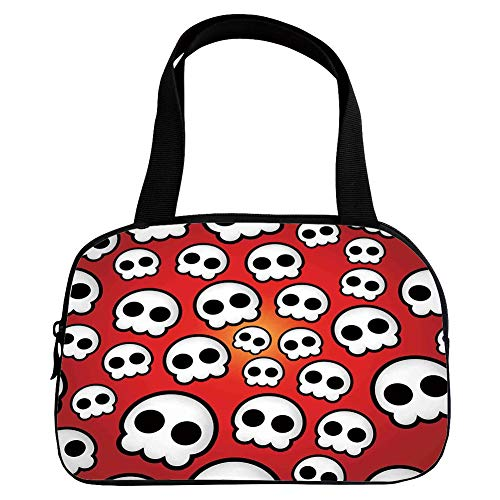 iPrint Strong Durability Small Handbag Pink,Skull,Contemporary Illustration of Various Sized Cute Skulls Teen Youth Emo Design,Red White Black,for Students,3D Print Design.6.3
