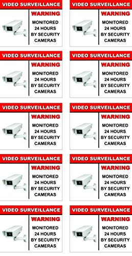 (Video Surveillance Outdoor (Waterproof) Stickers/Decals - 10 Pack - 3