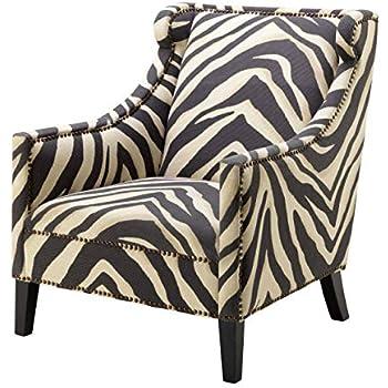 Amazon.com: Zebra Print Upholstered Living Room Arm Chair ...