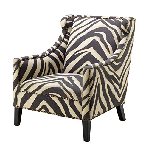 Zebra Print Upholstered Living Room Arm Chair