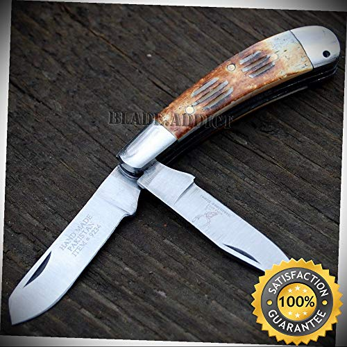 Bone Edge Collector's Handmade Real Bone Trapper Folding Pocket Knife Tool Blade - Outdoor For Camping Hunting ()