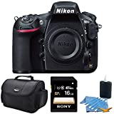 Nikon D810 36.3MP 1080p HD DSLR Camera 16GB Bundle includes Sony 16GB SDHC/SDXC Class 10 UHS-1 R40 Memory Card, Compact Deluxe Gadget Bag, and 3pc. Lens Cleaning Kit