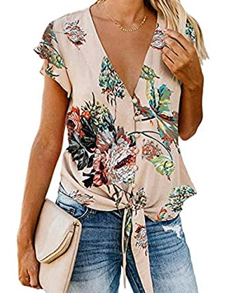 LUBERLIN Women's Sexy V-Neck Floral Blouse Button Down Ruffle Short Cuff Sleeves Chiffon Tops Shirts - Orange - Small