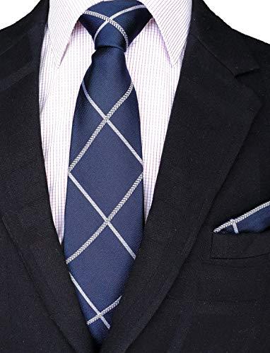 (Men's 100% Silk Classy Necktie+Hanky Set By WITZROYS,Gift Box pack(W3.35L59
