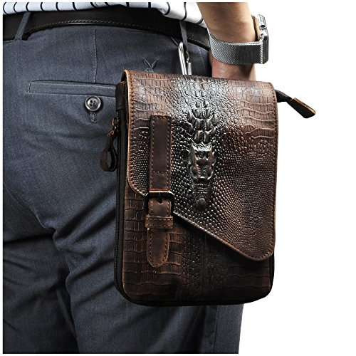Genuine Crocodile Bag - Le'aokuu Mens Genuine Leather Coffee Fanny Small Messenger Shoulder Satchel Waist Bag Pack (Large Size-Crocodile(brown2))