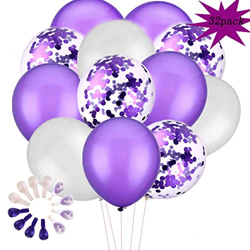(Pearl White Purple Balloons Purple Confetti Balloons 32 pcs, 12 inch White Pearl and Purple Party Balloons for Wedding Bridal Birthday Decorations)