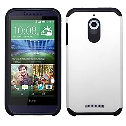 MyBat Asmyna HTC Desire 510 Astronoot Phone Protector Cover - Retail Packaging - White/Black (Zte Warp Sync Rubber Phone Case)