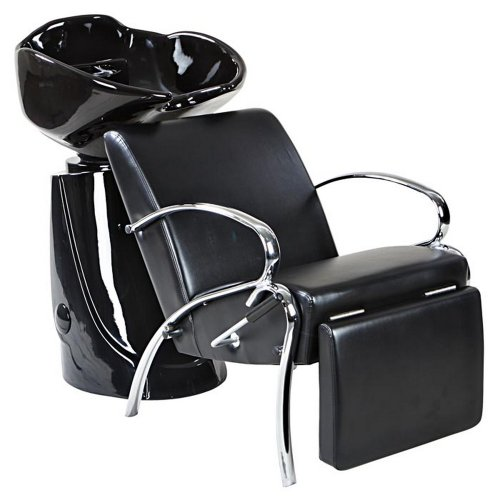 Icarus ''Streamline'' Black Beauty Shampoo Chair & Bowl Backwash Unit Package by Icarus