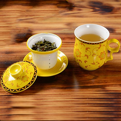 BandTie Convenient Travel Office Loose Leaf Tea Brewing System Teacup-Chinese Jingdezhen Blue (Saucer Yellow Flowers)