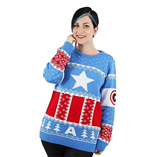 Sweater Jumper Marvel Captain Christmas Official America ugly WIWwcqYvH
