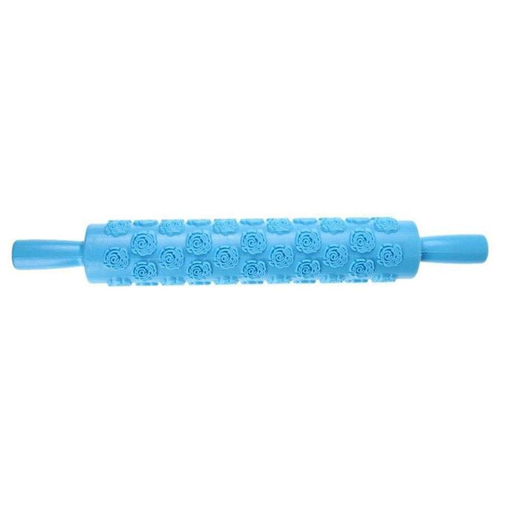OldSch001 Portable Embossed Rolling Pin Heart Pattern Fondant Pastry Cake Baking Decorating Tool (A) OldSch001-Rolling Pin