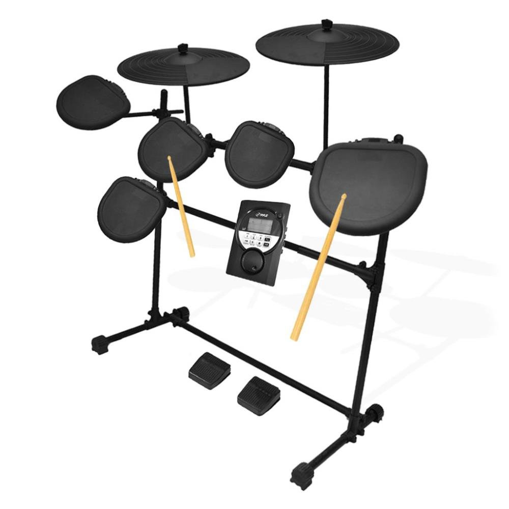 Pyle Pro 9 Piece Electronic Drums Set - Electric Drum Kit with 5 Drum Pad Heads, 2 Cymbal Crash Pads, Hi Hat and Bass Pedal Controller, Module, Stand Rack, Sticks - Professional / Beginners - PED021M by Pyle