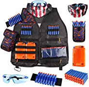 Kids Tactical Vest Kit for Nerf Guns N-Strike Elite Series with Refill Darts Dart Pouch, Reload Clip Tactical
