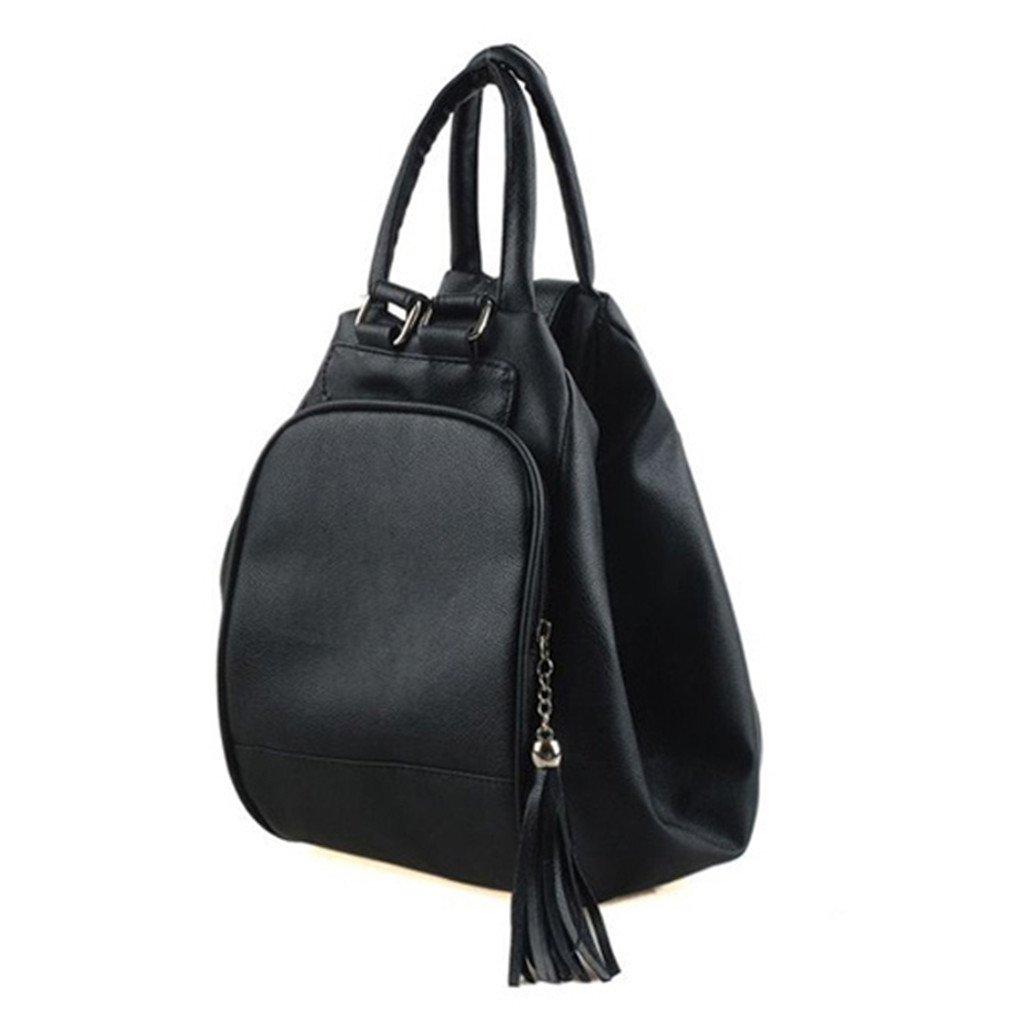 実用的 多機能 バックパック 女性 ショルダー バッグ 女性 トート タッセル ペンダント スクールバッグ パッケージ ブラック   B07C3HXQZ8