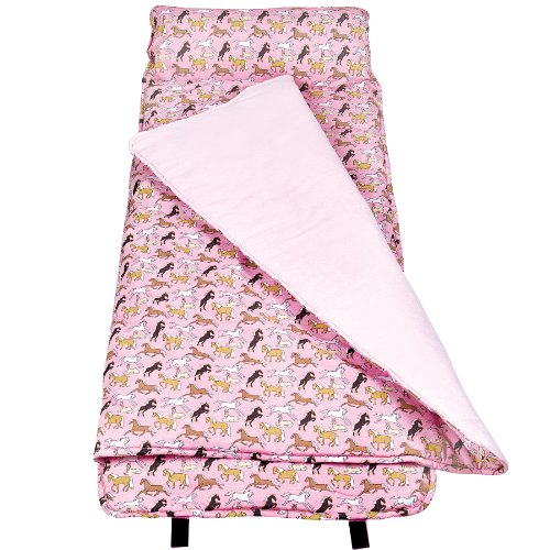 Wildkin Original Nap Mat, Features Built-In Blanket and Pillow, Perfect for Daycare and Preschool or Napping On-the-Go – Horses in Pink
