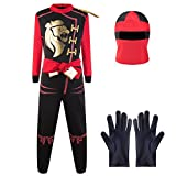 Katara 1771 Ninja Warrior Fancy Dress Outfit, Costume For Boys, For Children's Cosplay and Dress Up Party - Red - M (6-8 years)
