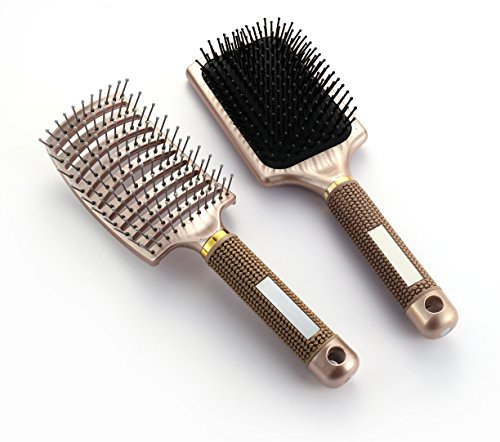 OneDor Ball tipped Air Volum Hair Brush with Flexible Cushion Base & Curved Barrel Detangling Hair Brush for Women Long, Thick, Thin, Curly & Tangled Hair by Onedor