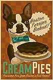 Boston Terrier - Retro Cream Pie Ad (9x12 Art Print, Wall Decor Travel Poster)