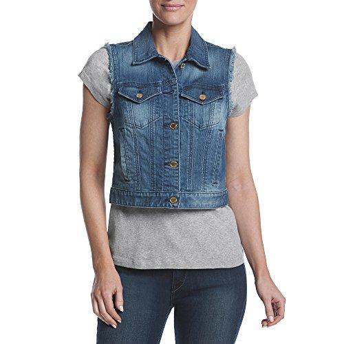 MICHAEL Michael Kors Women's Frayed Denim Vest (Vintage Blue Wash, - Michael Vintage Kors
