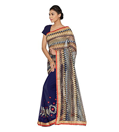 Viva-N-Diva-Blue-Georgette-And-Net-Saree-With-Unstitched-Blouse-Piece
