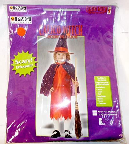 (PMG Halloween Girls Witch Purple Orange Calico Costume Dress L 4-6)