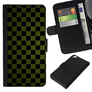 Stuss Case / Funda Carcasa PU de Cuero - Textura a cuadros verde - HTC Desire 820