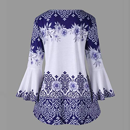 Shirts Mode Casual Automne Flare T Fashion Taille Imprim Tops Femme Shirt Blouses Grande Bleu Keyhole Tops Blouse Sleeve Innerternet H7xPw7