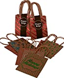 Arts & Crafts : Kraft Holiday Gift Bags, foil hot-stamp designs, 24 Small bags in assorted Christmas prints