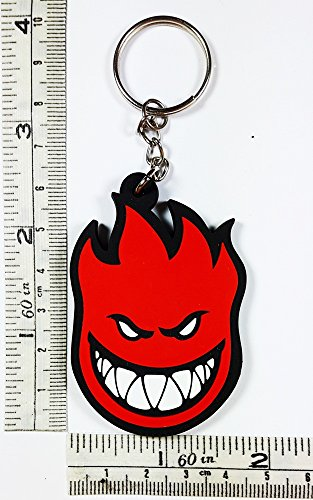 Devil Red Spitfire Skateboard Motorcycle Logo Keychain Key ring Rubber Motorcycle Big Bike Sport Racing Car Ideal for Birthday Gift